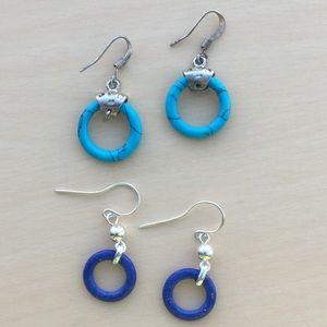 Vintage Sterling turquoise/lapis lazuli Earrings
